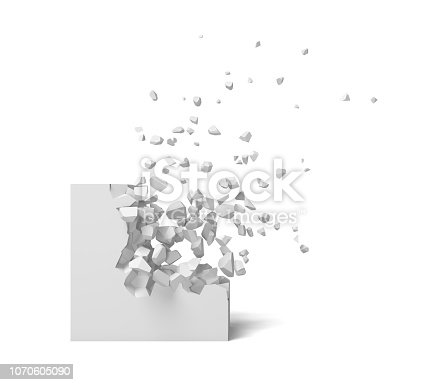 istock 3d rendering of a white square on a white background starting to get destroyed piece by piece. 1070605090