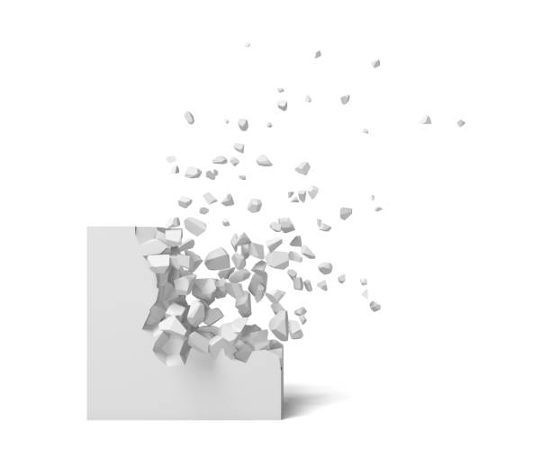 3d rendering of a white square on a white background starting to get destroyed piece by piece. 3d rendering of a white square on a white background starting to get destroyed piece by piece. Destruction and deterioration. Falling out. Debris. stone object stock pictures, royalty-free photos & images