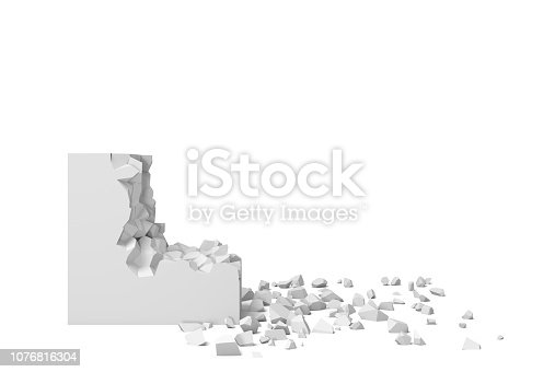 istock 3d rendering of a white square on a white background starting to get destroyed piece by piece. 1076816304