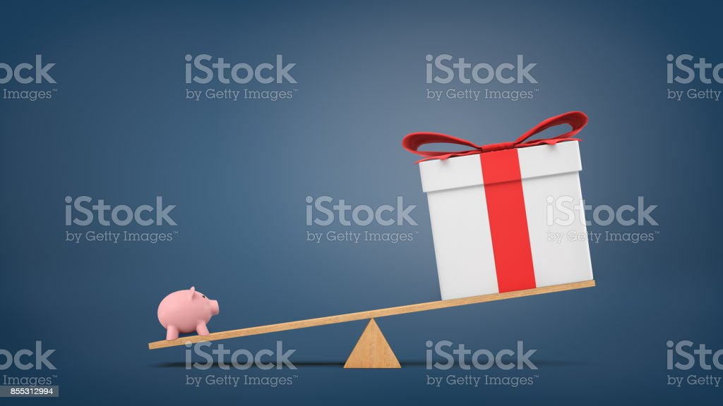 3d rendering of a wooden seesaw on blue background with a small piggybank heavier than a big gift box. stock photo