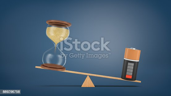 istock 3d rendering of a wooden seesaw with a depleted battery heavier than an hourglass that did not start counting time 889296758