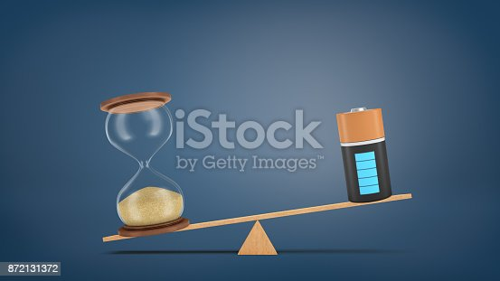 istock 3d rendering of a wooden seesaw with a retro hourglass heavier than a fully charged battery. 872131372