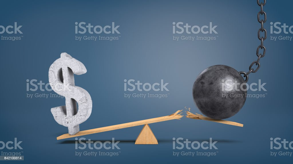 3d rendering of a wooden seesaw with an overweighing concrete dollar sign and a wrecking ball that breaks the plank stock photo