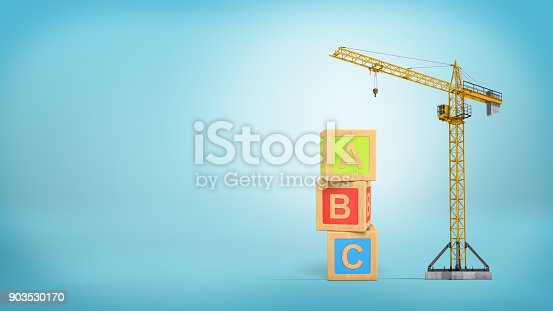 istock 3d rendering of a yellow construction crane stands on a blue background near three giant alphabet toy blocks 903530170