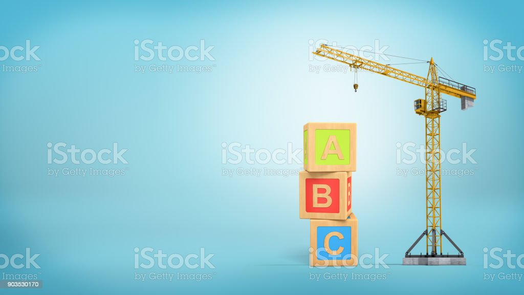 3d rendering of a yellow construction crane stands on a blue background near three giant alphabet toy blocks stock photo