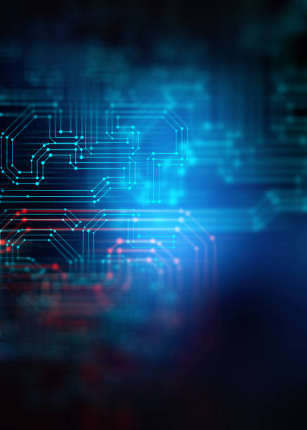 3d rendering  of Abstract futuristic blue circuit board and cpu stock photo
