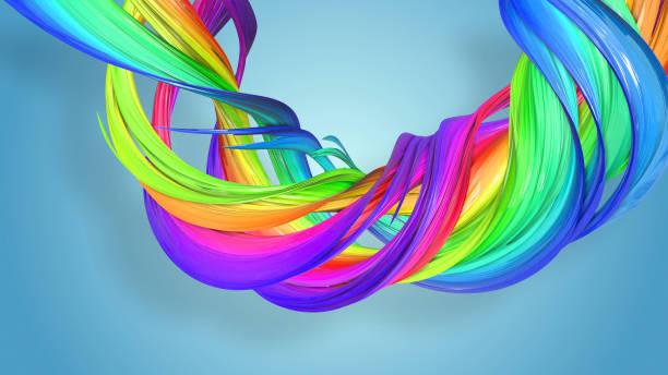 3d-rendering von abstrakten regenbogen-farbband in eine kreisförmige struktur auf blauem hintergrund verdreht. schöne bunte band glitzert hell. 4 - medium strähnchen stock-fotos und bilder