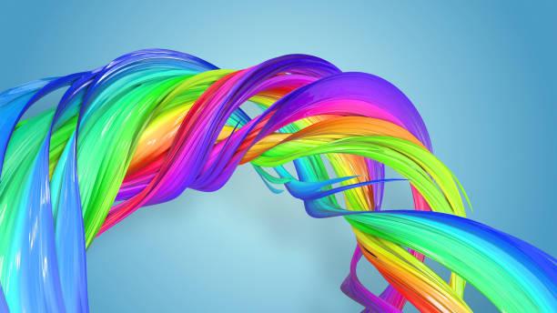 3d-rendering von abstrakten regenbogen-farbband in eine kreisförmige struktur auf blauem hintergrund verdreht. schöne bunte band glitzert hell. 6 - medium strähnchen stock-fotos und bilder