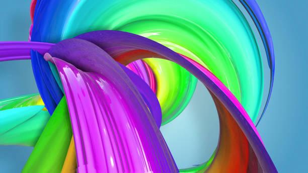 3d-rendering von abstrakten regenbogen-farbband in eine kreisförmige struktur auf blauem hintergrund verdreht. schöne bunte band glitzert hell. 10 - medium strähnchen stock-fotos und bilder