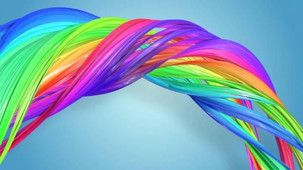 3d-rendering von abstrakten regenbogen-farbband in eine kreisförmige struktur auf blauem hintergrund verdreht. schöne bunte band glitzert hell. 16 - medium strähnchen stock-fotos und bilder
