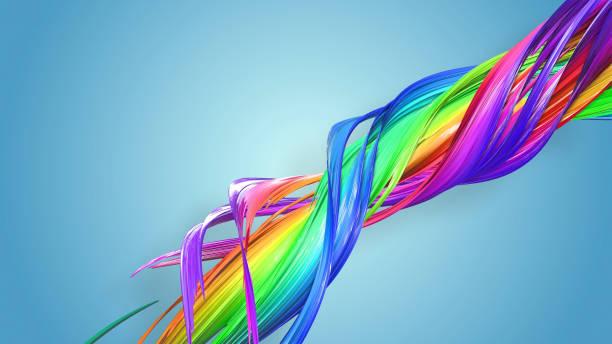 3d-rendering von abstrakten regenbogen-farbband in eine kreisförmige struktur auf blauem hintergrund verdreht. schöne bunte band glitzert hell. 18 - medium strähnchen stock-fotos und bilder