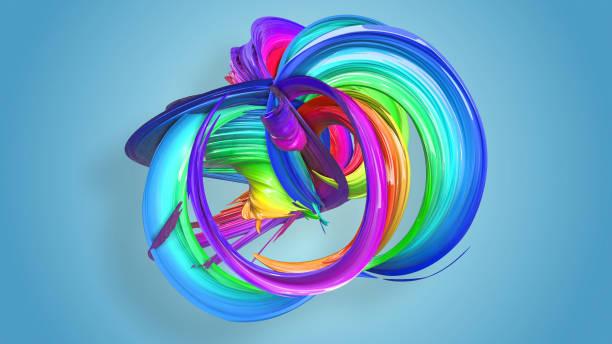 3d-rendering von abstrakten regenbogen-farbband in eine kreisförmige struktur auf blauem hintergrund verdreht. schöne bunte band glitzert hell. 22 - medium strähnchen stock-fotos und bilder