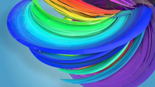 3d-rendering von abstrakten regenbogen-farbband in eine kreisförmige struktur auf blauem hintergrund verdreht. schöne bunte band glitzert hell. 29 - medium strähnchen stock-fotos und bilder