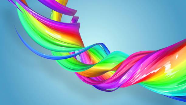 3d-rendering von abstrakten regenbogen-farbband in eine kreisförmige struktur auf blauem hintergrund verdreht. schöne bunte band glitzert hell. 31 - medium strähnchen stock-fotos und bilder