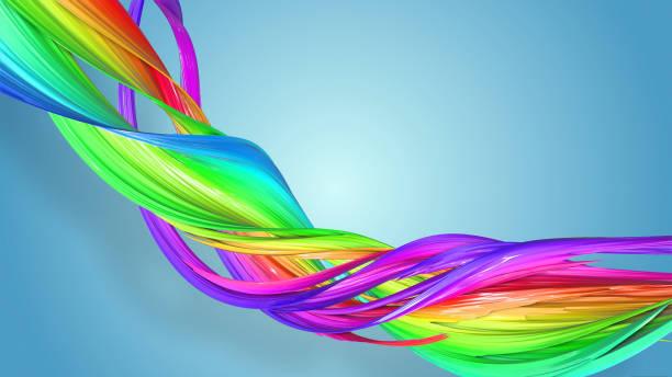 3d-rendering von abstrakten regenbogen-farbband in eine kreisförmige struktur auf blauem hintergrund verdreht. schöne bunte band glitzert hell. 37 - medium strähnchen stock-fotos und bilder
