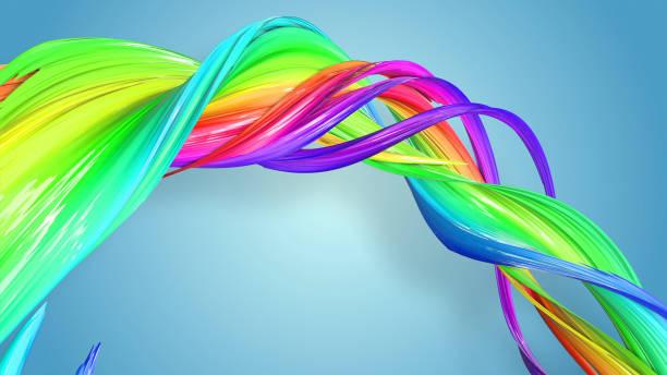 3d-rendering von abstrakten regenbogen-farbband in eine kreisförmige struktur auf blauem hintergrund verdreht. schöne bunte band glitzert hell. 39 - medium strähnchen stock-fotos und bilder