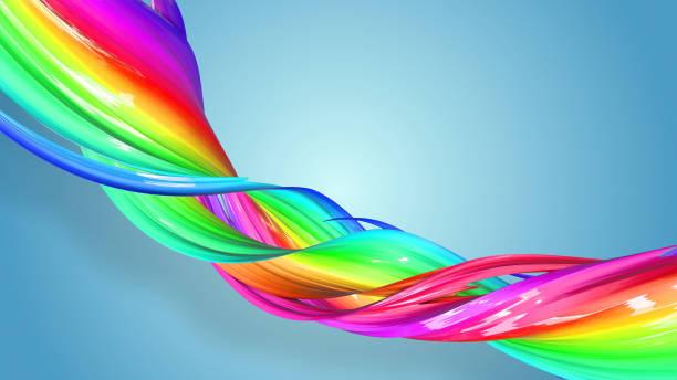 3d-rendering von abstrakten regenbogen-farbband in eine kreisförmige struktur auf blauem hintergrund verdreht. schöne bunte band glitzert hell. 45 - medium strähnchen stock-fotos und bilder