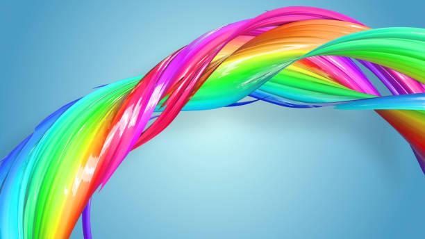 3d-rendering von abstrakten regenbogen-farbband in eine kreisförmige struktur auf blauem hintergrund verdreht. schöne bunte band glitzert hell. 49 - medium strähnchen stock-fotos und bilder