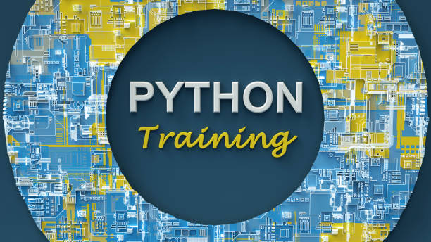 3d rendering of advertising banner for Python Training. Concept of Python programming language online learning. Online education. E-learning. stock photo