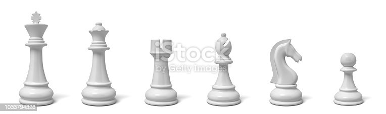 3d rendering of all six different chess pieces of black color standing in line. Chess set. Games and recreation. Major and minor pieces.