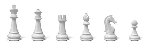 3d rendering of all six different chess pieces of black color standing in line. - xadrez imagens e fotografias de stock