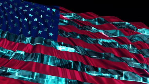 3d rendering of American flag made in cyber style. The flag develops smoothly in the wind 3d rendering of American flag made in cyber style. The flag develops smoothly in the wind. Wind waves spread over the flag pirate criminal stock pictures, royalty-free photos & images