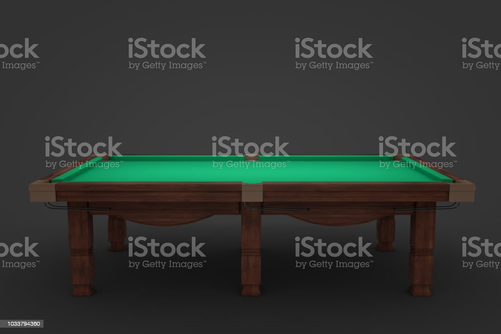 3d rendering of an empty billiard table in side view on a dark...