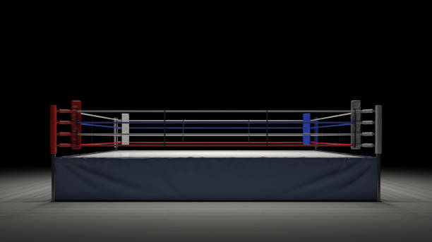 3d rendering of an empty boxing ring in front view spotlighted in the dark - wrestling stock photos and pictures