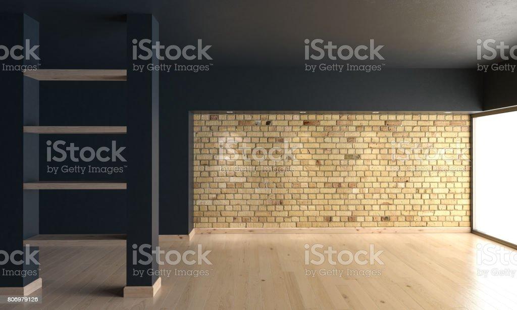 rendu 3D d'une pièce vide avec un mur de briques photo libre de droits