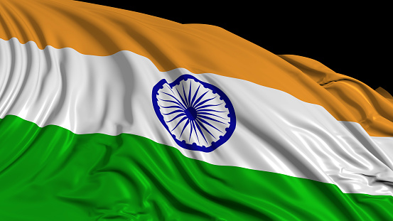 istock 3d rendering of an Indian flag. The flag develops smoothly in the wind 1154424857