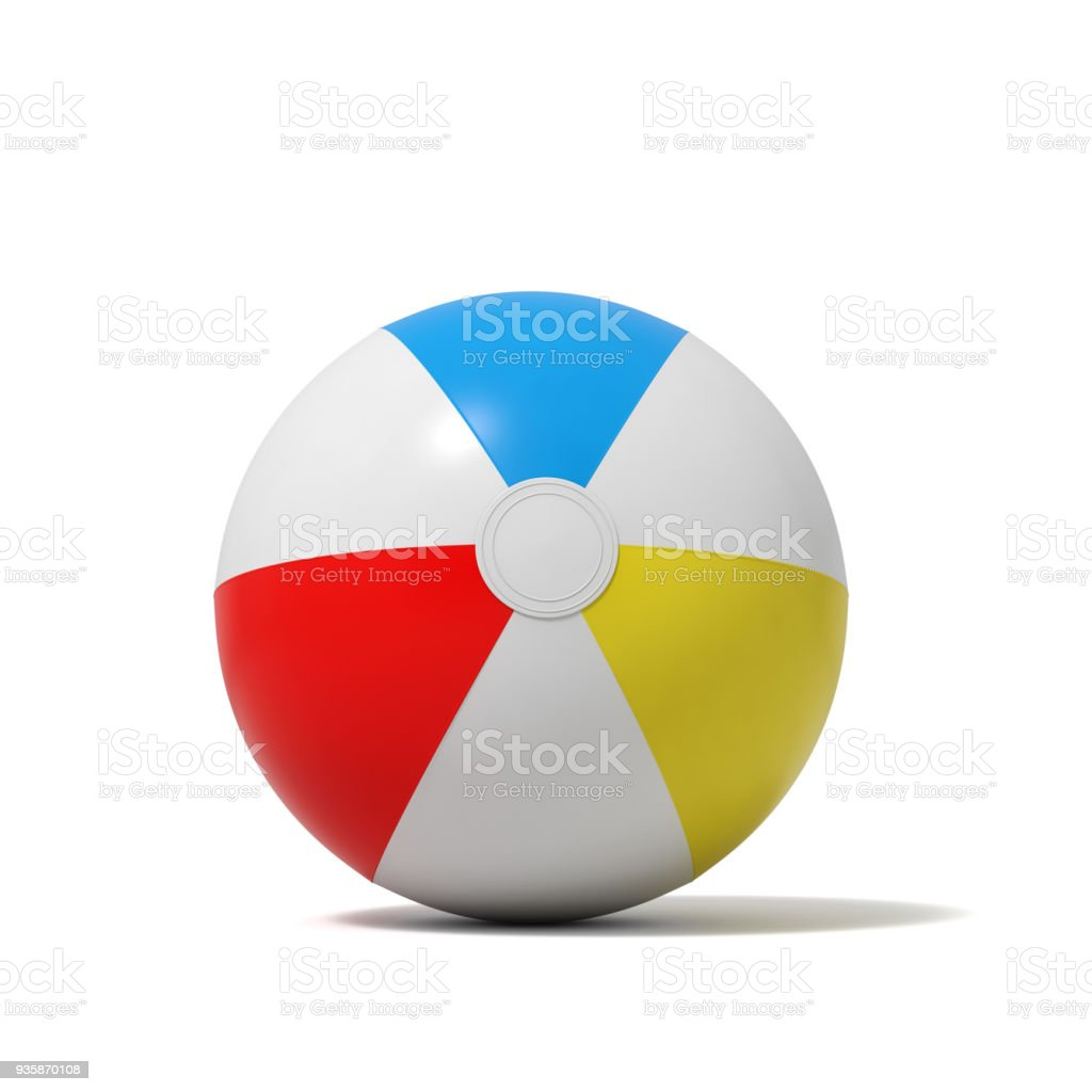 3d rendering of an inflated beach ball with white and colorful stripes on a white background stock photo