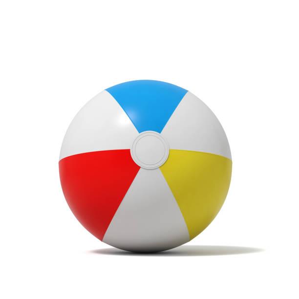 rendu 3D d'un ballon gonflé de plage avec des bandes blanches et colorées sur fond blanc - Photo