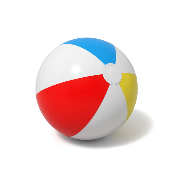 3d rendering of an inflated beach ball with white and colorful stripes on a white background - beach ball stock photos and pictures