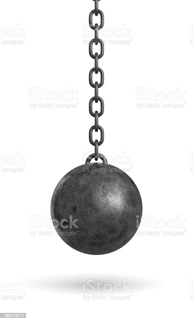 3d rendering of an ink black wrecking ball hanging from a chain isolated on white background stock photo
