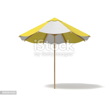 istock 3d rendering of an isolated beach umbrella with white and yellow stripes on white background 936364530