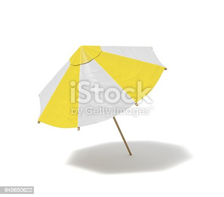 istock 3d rendering of an isolated beach umbrella with white and yellow stripes on white background 945650622