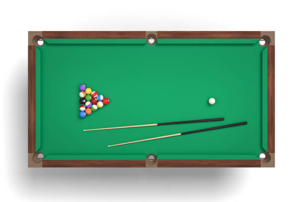 3d rendering of an isolated billiard table in a top view with a full set of sticks and balls in its surface - pool cue stock photos and pictures