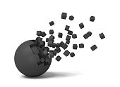 3d rendering of an isolated black round ball getting deteriorated with small pieces flying up.