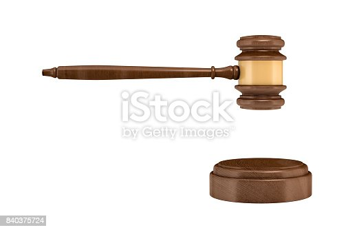 istock 3d rendering of an isolated dark wood judge gavel and sound block 840375724