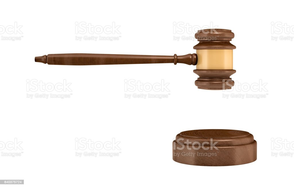 3d rendering of an isolated dark wood judge gavel and sound block stock photo