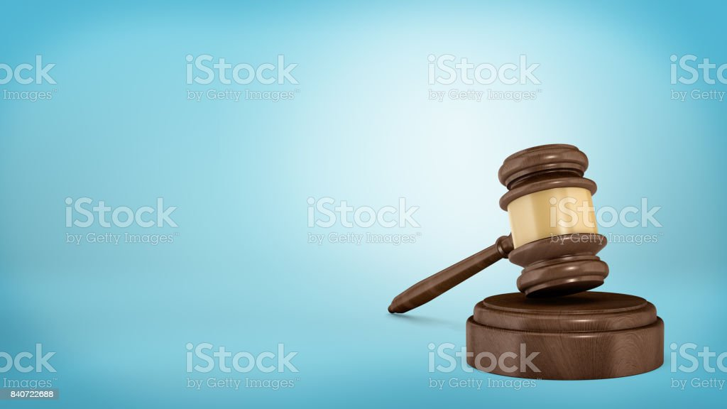 3d rendering of an isolated dark wood judge gavel resting on a sound block stock photo