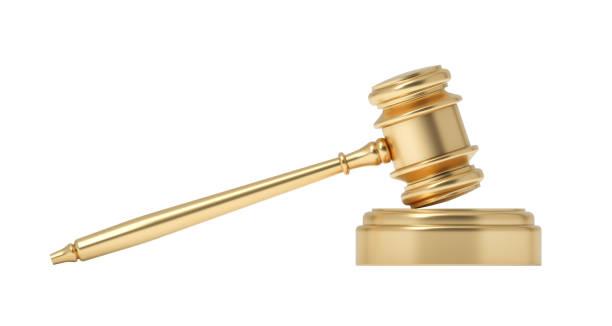 흰색 배경에 사운드 블록에 격리 된 판사 망치의 3d 렌더링 - 나무망치 뉴스 사진 이미지