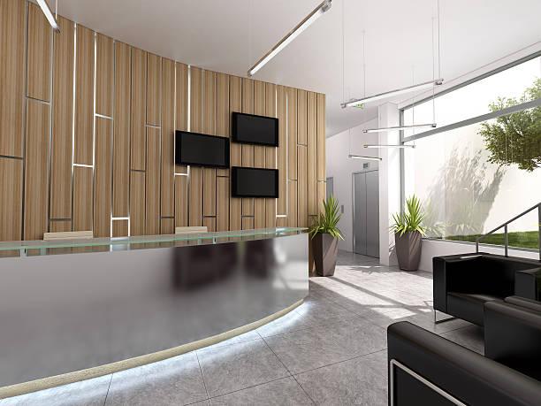 3 d レンダリングのインテリアデザインは、オフィス recepcion ストックフォト