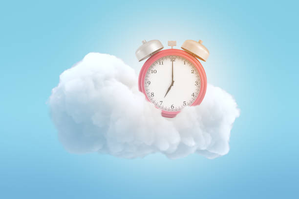 3d rendering of an old-fashioned alarm clock on a fluffy white cloud on a blue background. 3d rendering of an old-fashioned alarm clock on a fluffy white cloud on a blue background. Get good lie-in. Wake up, World. Rise and shine. day dreaming stock pictures, royalty-free photos & images