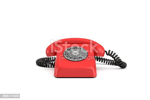 3d rendering of an old-fashioned rotary phone in front view on white background. Emergency number. Red phone. Secure line.
