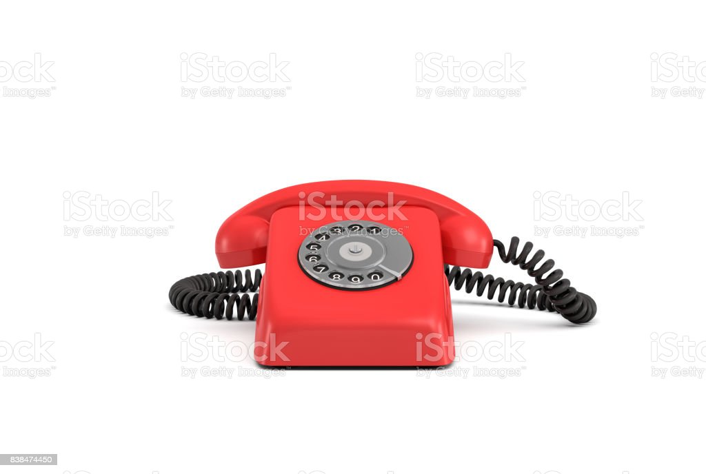 3d rendering of an old-fashioned rotary phone in front view on white background stock photo