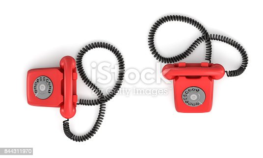 istock 3d rendering of an old-fashioned rotary phone in top view on white background 844311970