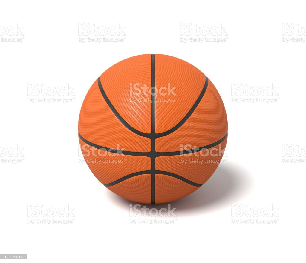 3d rendering of an orange basketball with black stripes standing on a white background. stock photo
