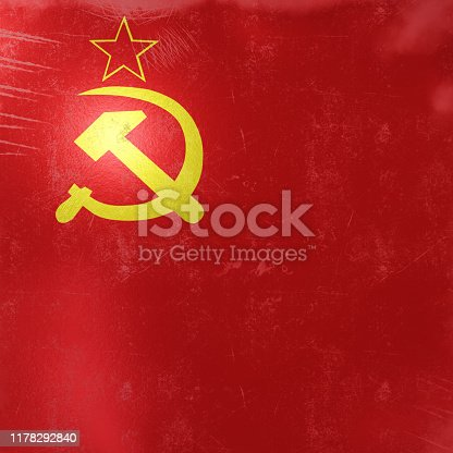 3d rendering of an old USSR flag icon on a metalic surface.