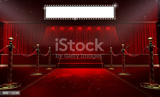istock 3d rendering of Background with a red curtain and a spotlight. Festival night show poster. Open red curtain. event premiere poster 956110230